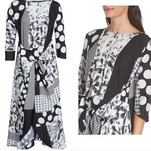 NWT Caara Krefeld scarf mixed print midi dress